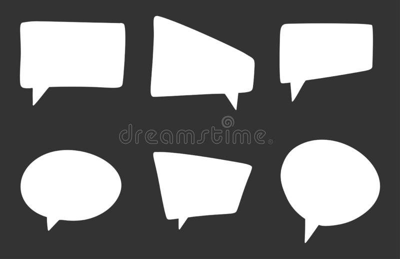 Set of different speech bubbles, blank and empty template of chat signs. Cartoon style vector image. Set of different white speech bubbles, blank and empty vector illustration