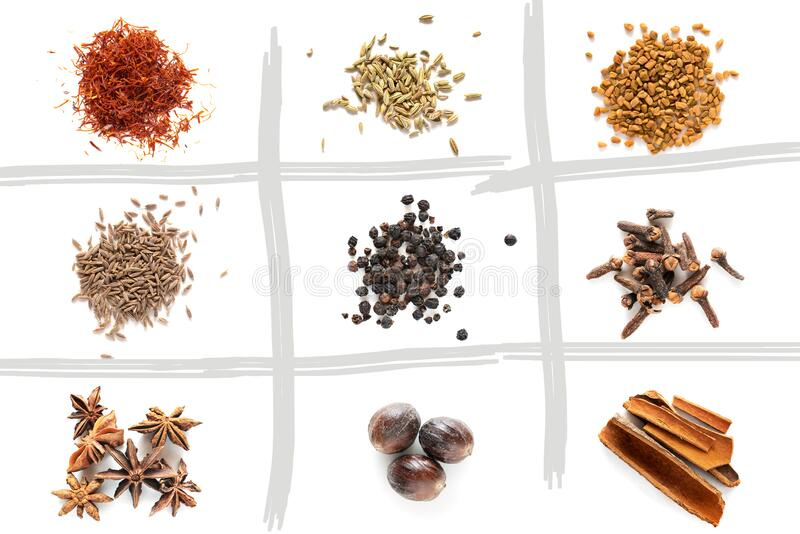 Set of different spices stock image