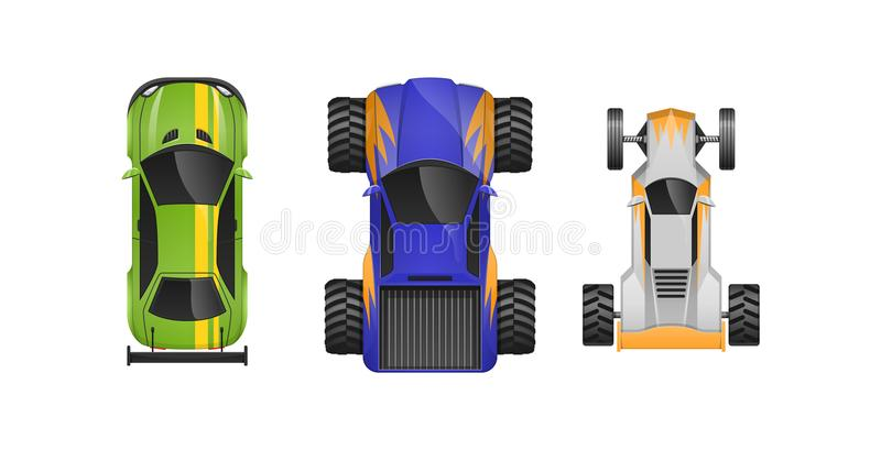 Set Of Different Sports Cars Different Colors Characteristics - Sports cars types