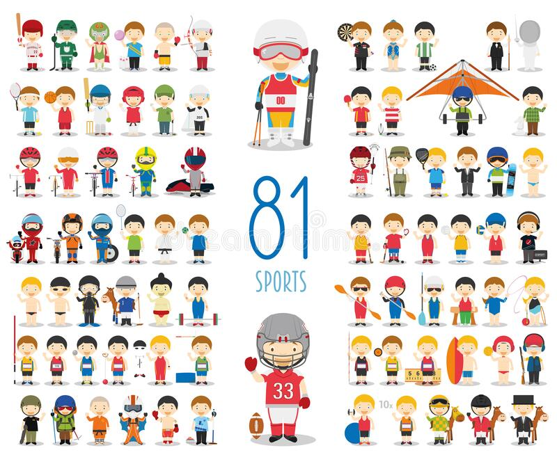 Set of 81 different sports in cartoon style. Kids characters vector illustration vector illustration