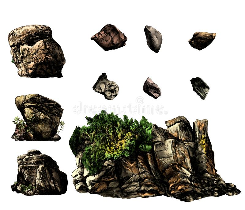 Set of different stones boulders and rocks with trees and vegetation. Sketch vector graphics color illustration on white background vector illustration