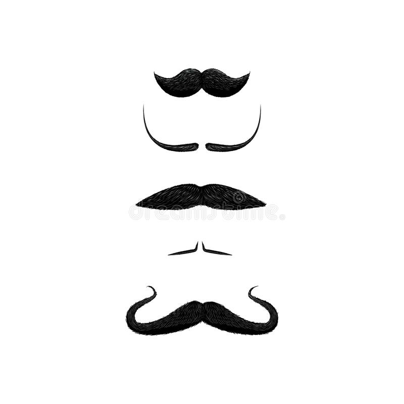 Set of different styles of mustache isolated on white background. Dali, handler, filleted, english, chevron style mustache stock illustration