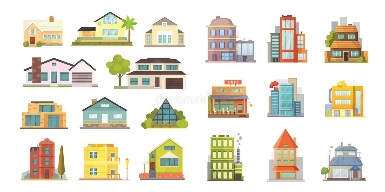 Set of different styles residential houses. City architecture retro and modern buildings. House front cartoon vector vector illustration