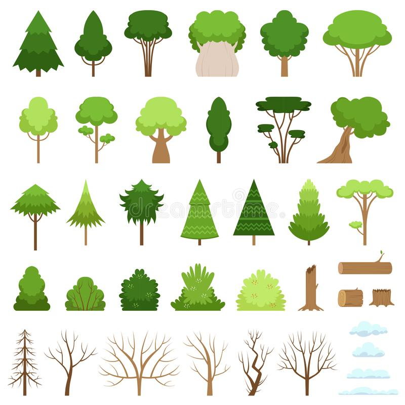 Set of different forest, tropical and dry trees, bushes, stumps, logs and clouds. Vector illustration royalty free illustration