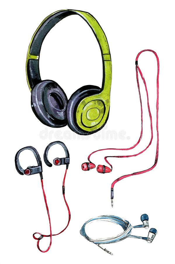 Set of different stylized watercolor headphones royalty free illustration