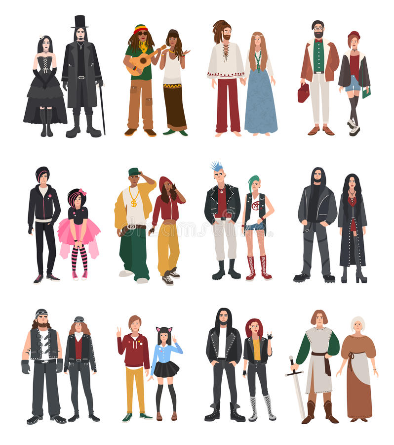 Set of different subculture. stock illustration