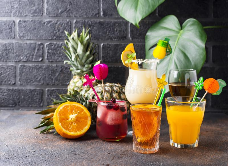 Set of different summer cocktails stock photo