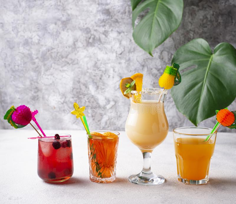 Set of different summer cocktails stock image