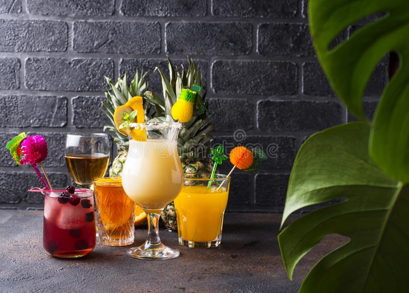 Set of different summer cocktails royalty free stock photos