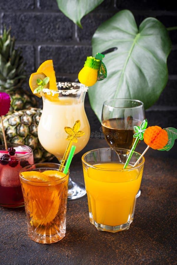 Set of different summer cocktails stock images