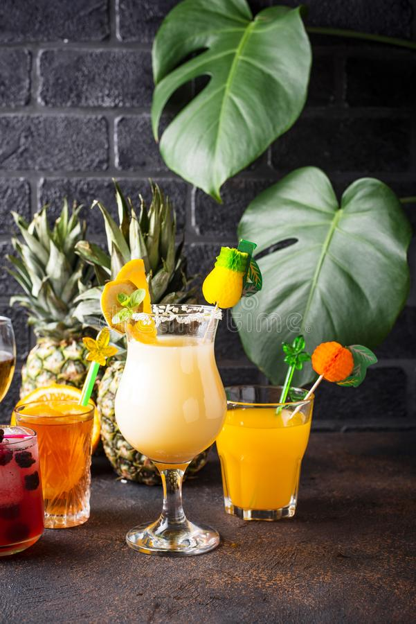 Set of different summer cocktails royalty free stock photo