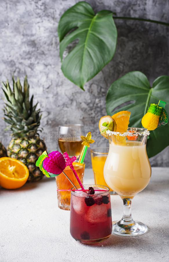 Set of different summer cocktails royalty free stock image