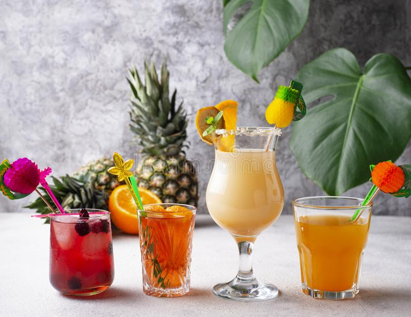 Set of different summer cocktails stock photos