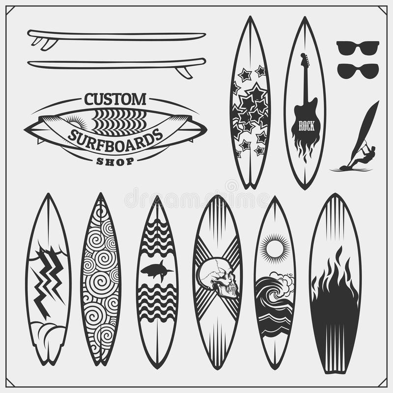 Set of different surfboards. Vector illustration. Surfing emblems, icons and labels. vector illustration