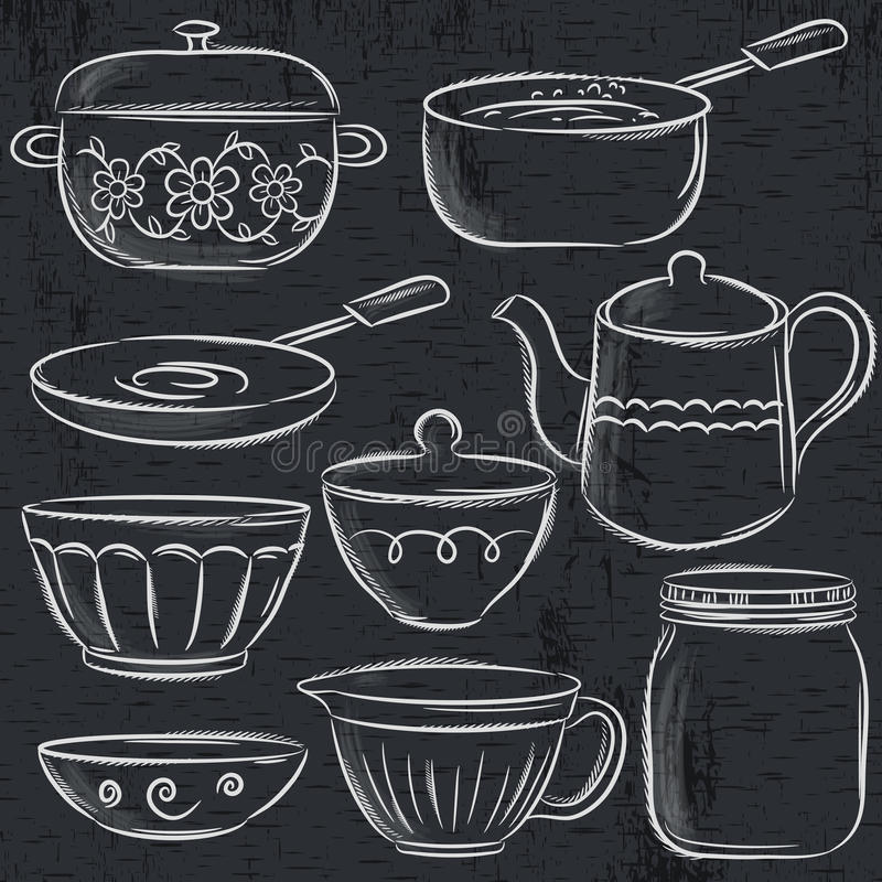Set of different tableware on blackboard royalty free illustration
