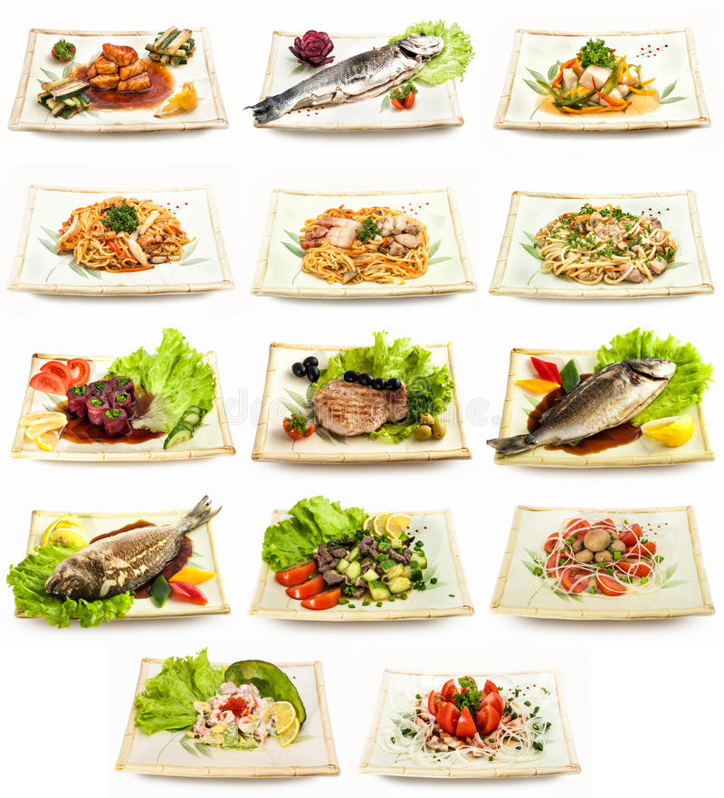 Set of different tasty dishes royalty free stock photography