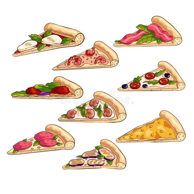 Set of different tasty slices of fresh italian pizza stock illustration