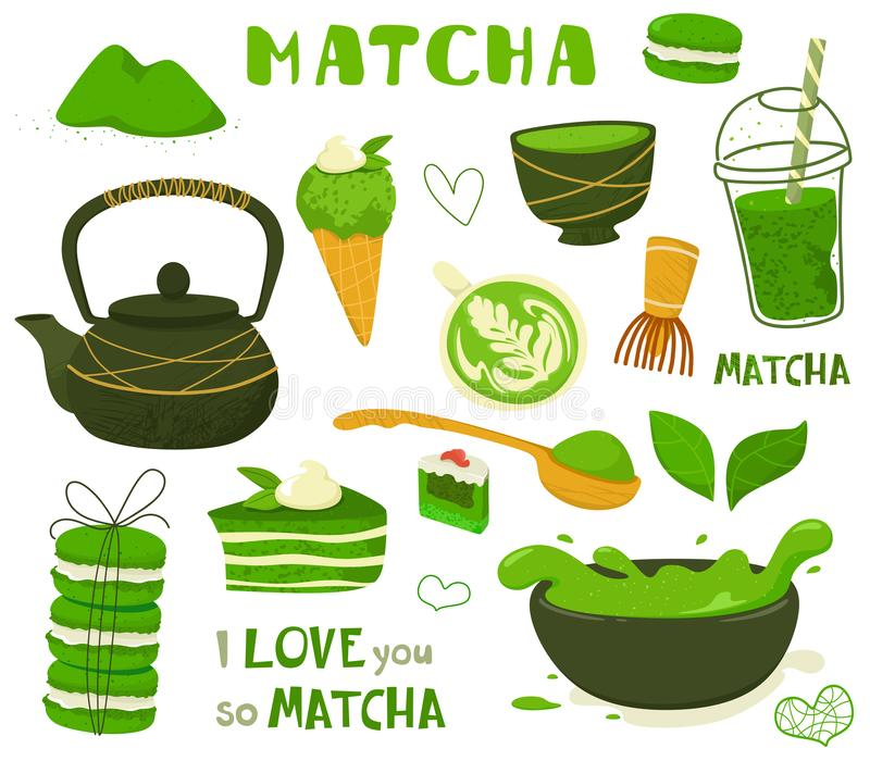 Set of different tea products of the matcha. Matcha powder, macarons, ice cream, cake, bamboo spoon, teapot, drink, tea, tea leave. S. Hand drawn vector set royalty free illustration