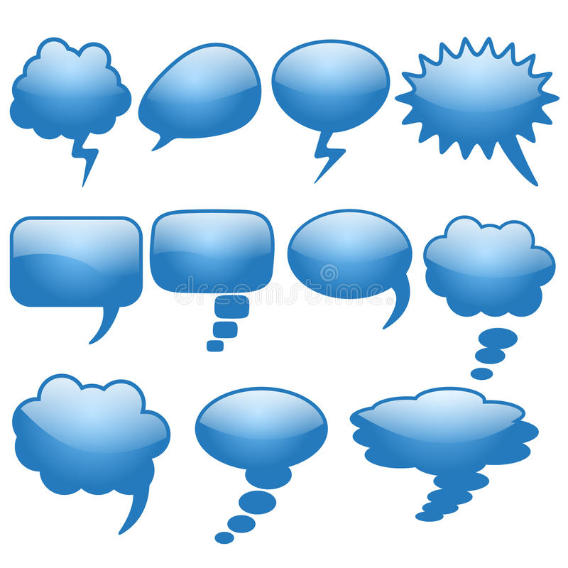 Set of different thought cloud eleven blue objects. On a white background for infographics royalty free illustration