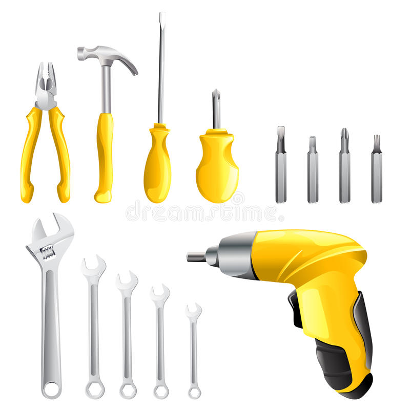 Download Set of different tools stock vector. Image of handy, mechanic - 24053678