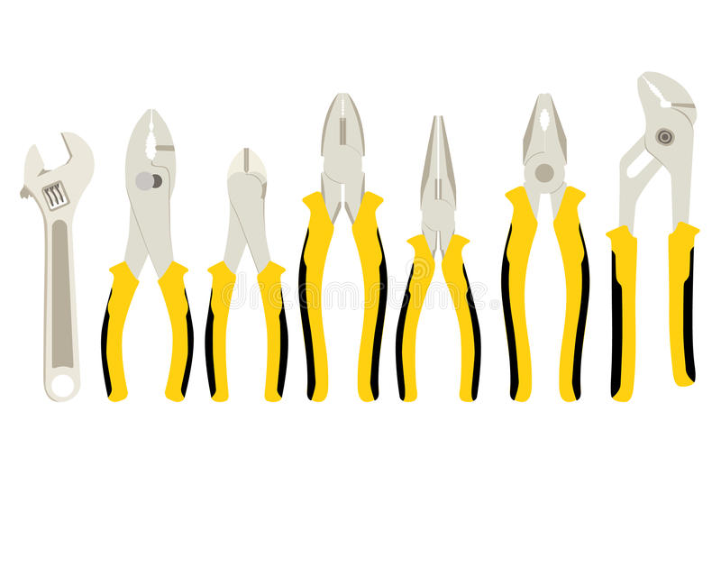 Set of different tools of pliers and side cutters royalty free stock photos