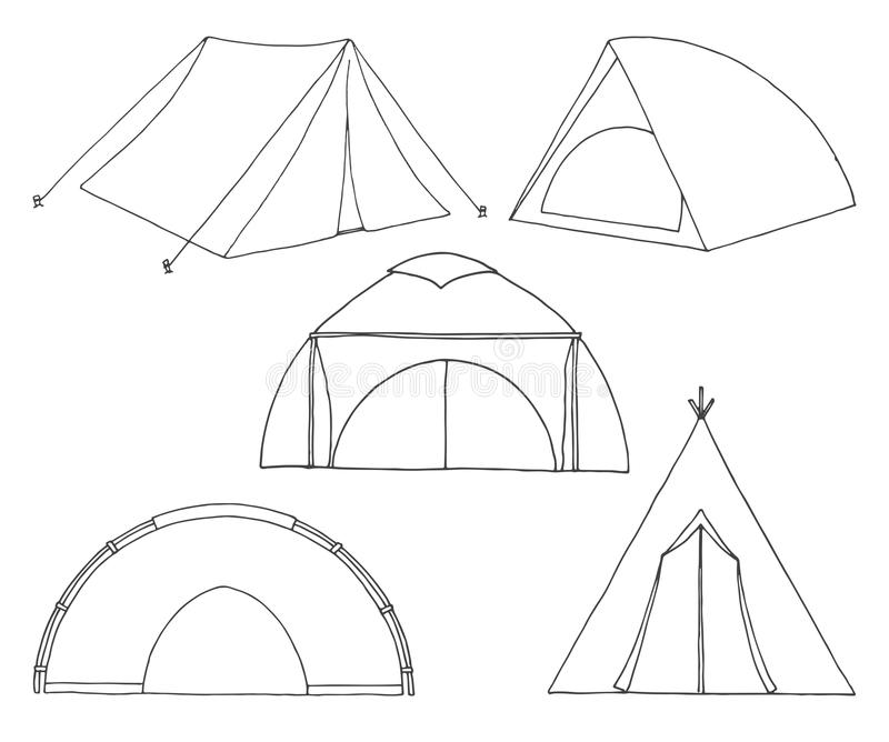 Set of different tourist tents. Hand drawn illustration of a sketch style royalty free illustration