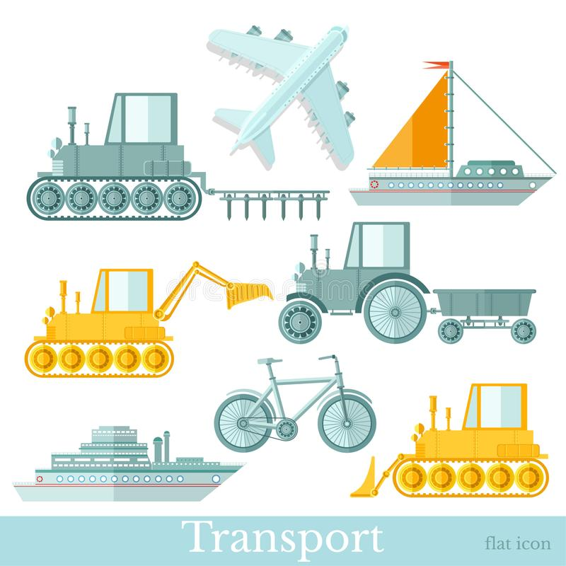 Set of different transorts inflat style, on white background. Plane, ship, yacht, bicycle, tractor and excavator.  vector illustration