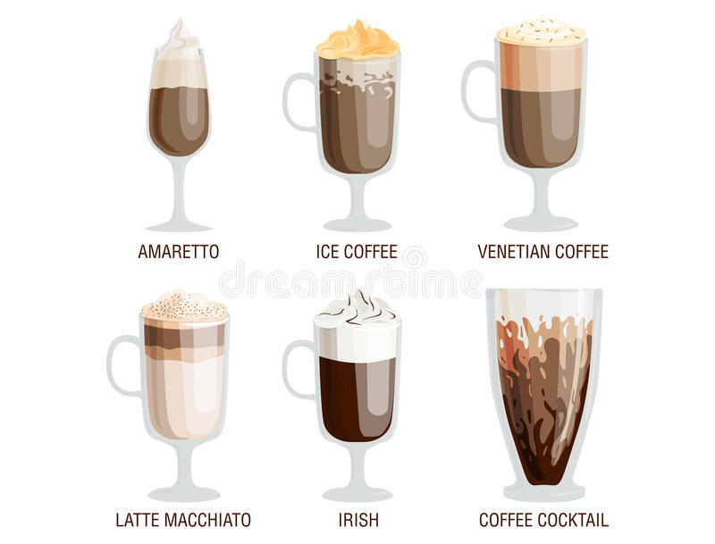 Set of different transparent cups of coffee types mug with foam beverage and breakfast morning sign tasty aromatic glass. Assortment vector illustration stock illustration