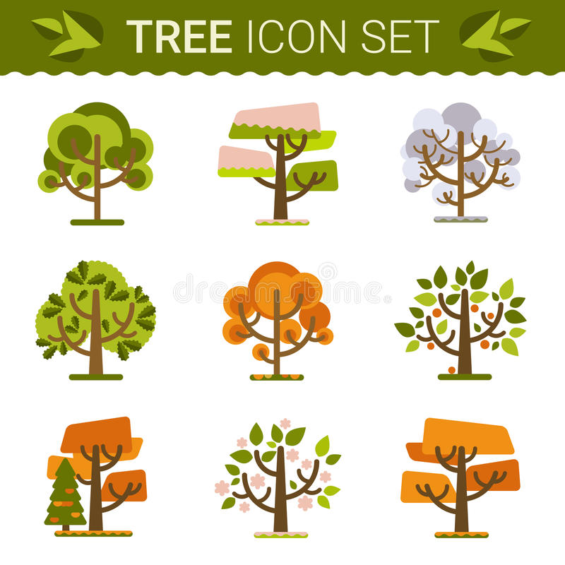 Set of different trees, rocks, grass. Sprites for stock illustration