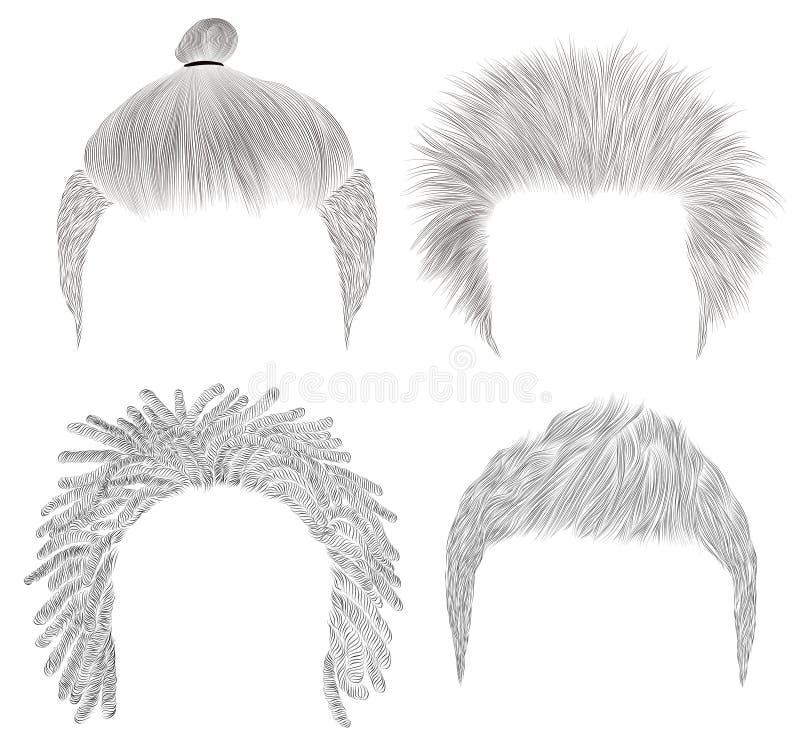 Set of different trendy man hairs. sketches . Beauty style.shaggy dreadlocks bun stock photos