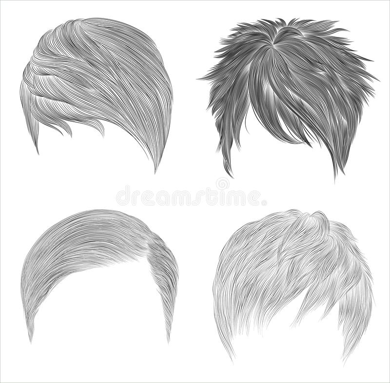 set different trendy woman man hairs. sketches . Beauty style..unisex royalty free stock image