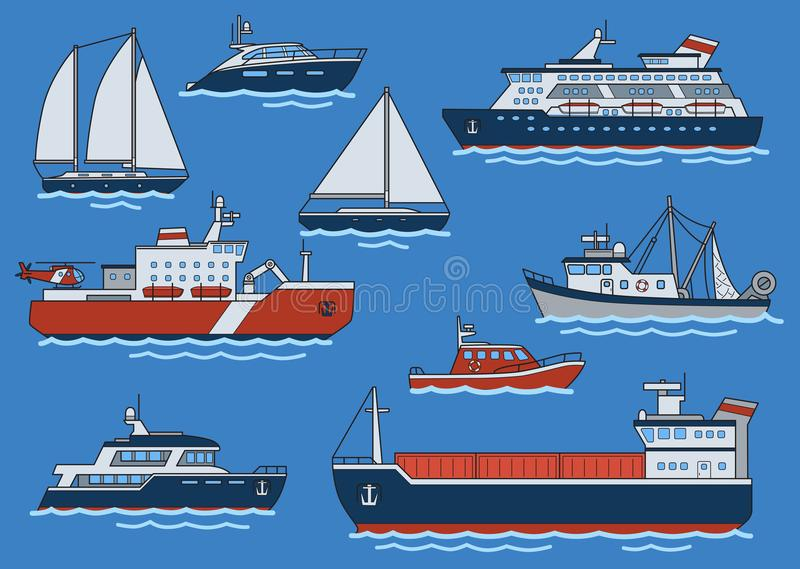 Set of different type ships and boats. Freighter, icebreaker, cruiser, yacht, trawler, speedboat. Flat vector. Set of different type ships and boats. Freighter royalty free illustration