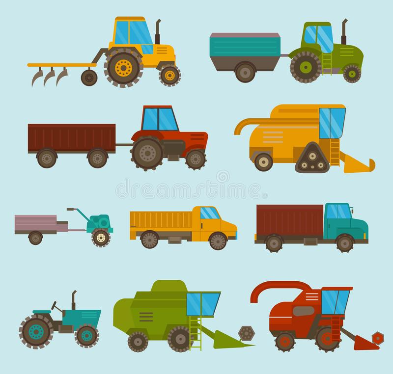 Different types vector agricultural vehicles and harvester machine, combines and excavators. Icon set agricultural royalty free illustration