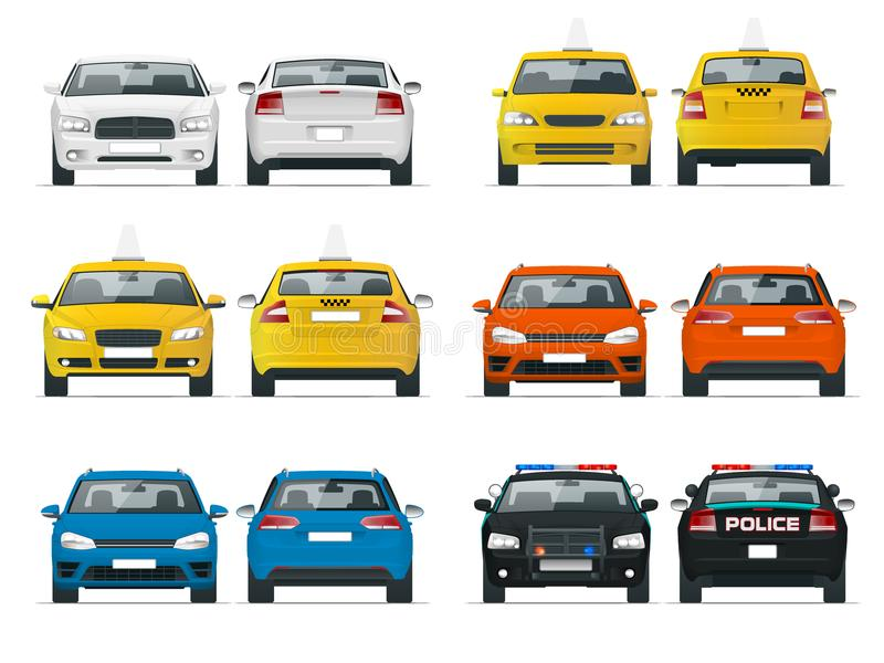 Set of different types of cars. Yellow taxi, police and sedan cab isolated over white background vector illustration stock illustration