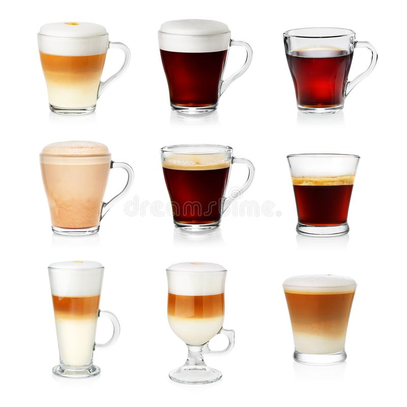 Set of different types of coffee royalty free stock images
