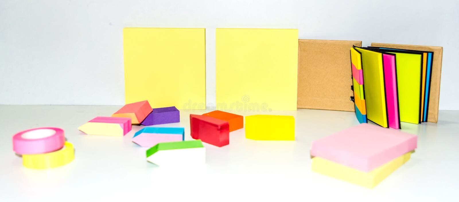Set of different types of colorful sticky note isolated on white background.  stock image