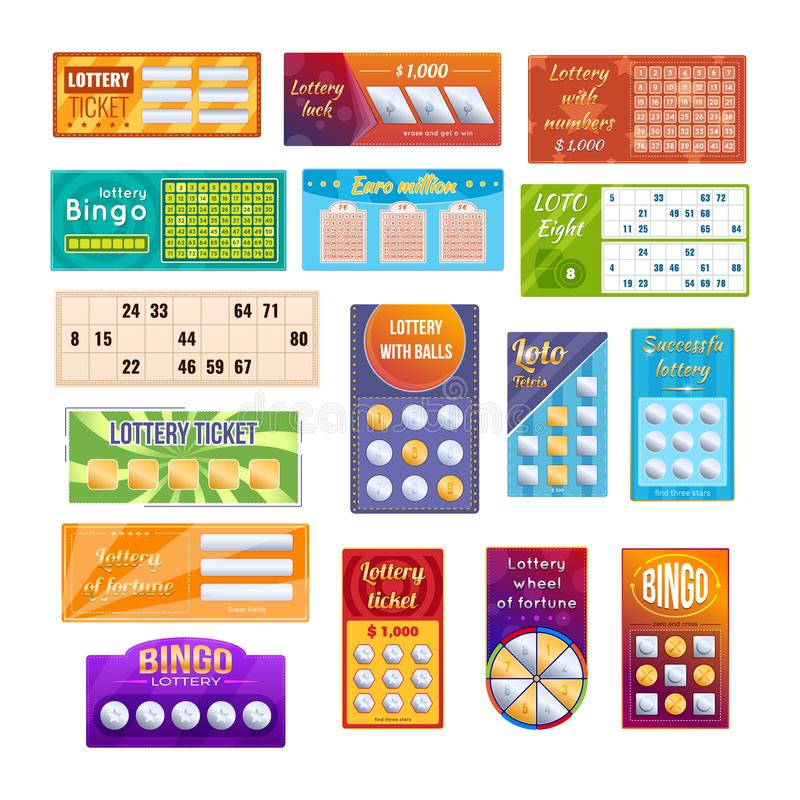 Set of different lottery tickets for drawing money and prizes. Set of different types of lottery tickets for drawing money, prizes. Tickets for event, financial royalty free illustration