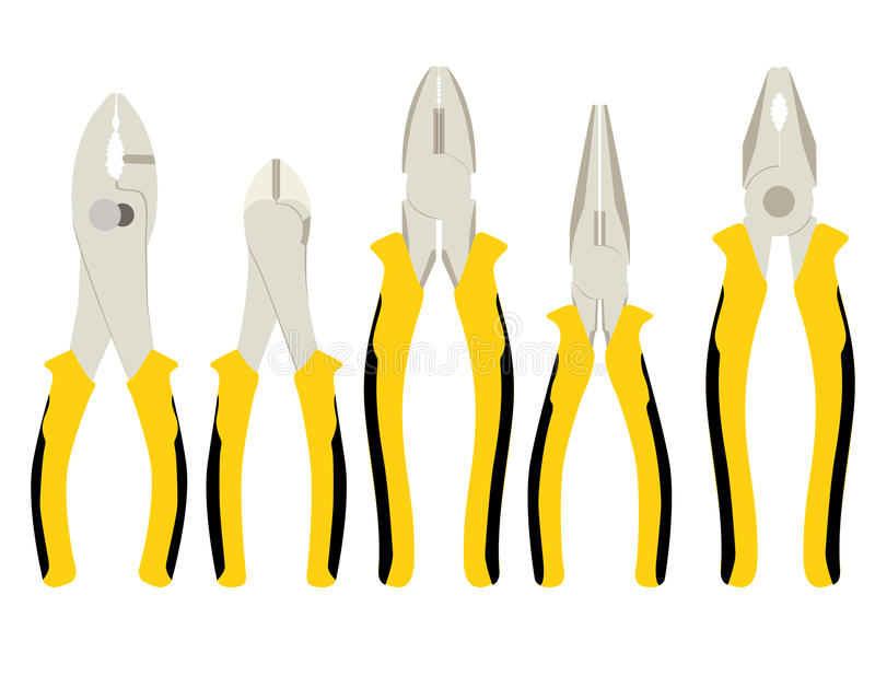 Set of different types of pliers and side cutters stock image