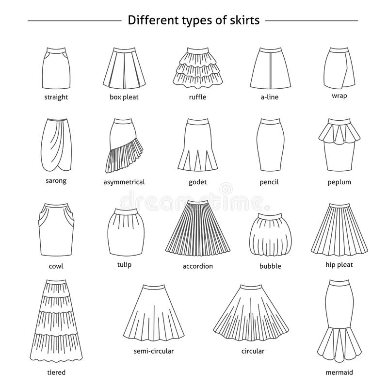 Set of different types of skirts stock illustration