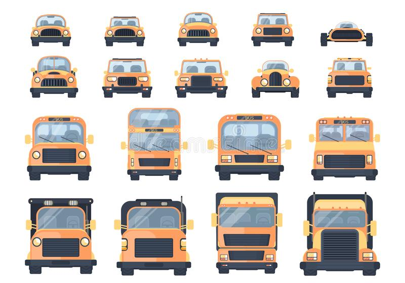 Set of different types of transport. City car, pick up, roadster, hot road, SUV, bus, lorry, heavy truck, race car. vector illustration