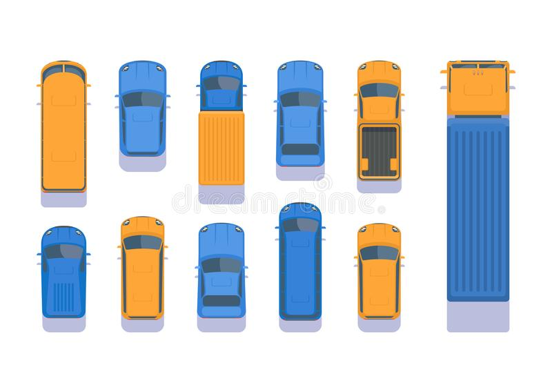 Set of different types of transport. Top aerial view illustration. City car, pick up, SUV, bus, lorry, heavy truck, van vector illustration