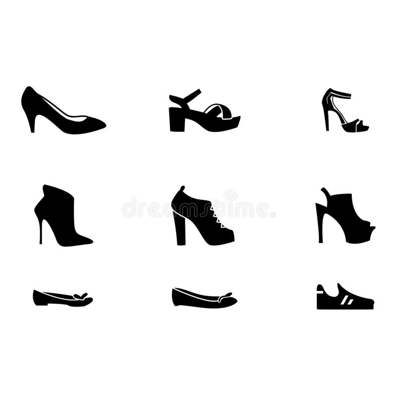 Set with different types of trend women`s shoes: ballets, sneakers, boots, flats,. Flat vector illustration royalty free illustration