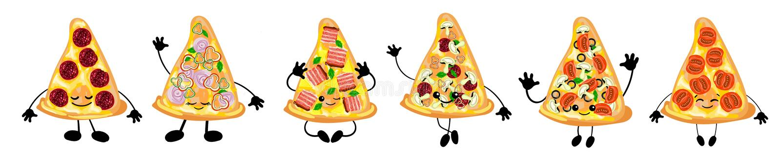 A set of different varieties of Italian pizza is a cute character with a face. For your company, pizzeria, restaurant logo for vector illustration