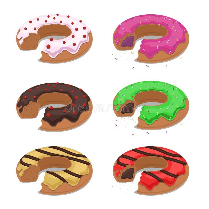 Set of different vector bitten donuts stock illustration