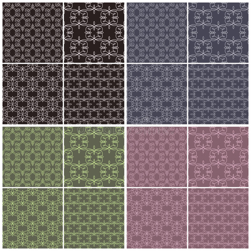 Set of different vector seamless patterns in four color schemes. vector illustration