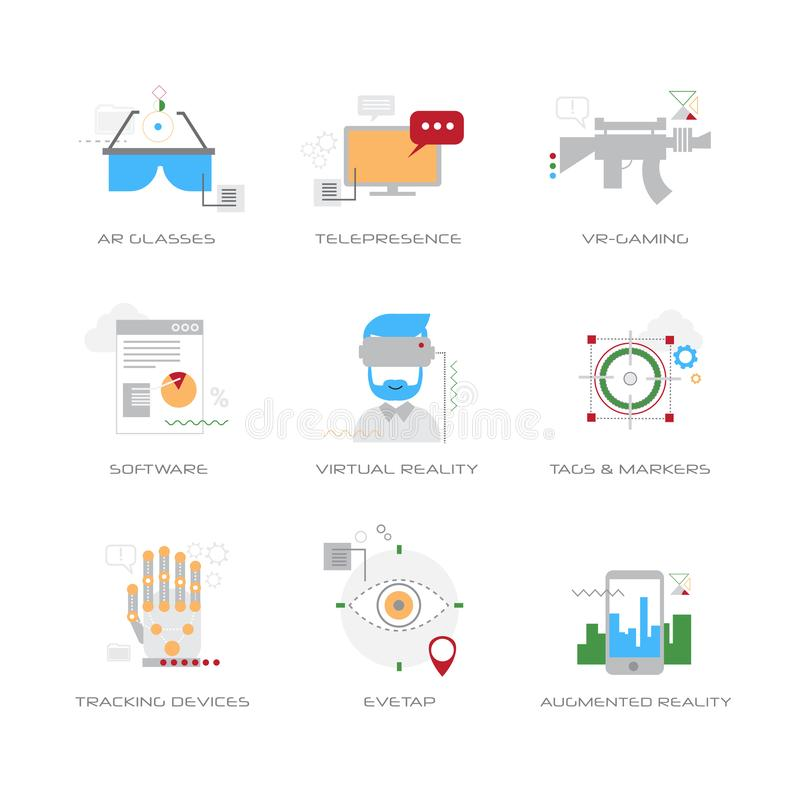 Set different virtual reality digital technology concepts collections line style white background vector illustration