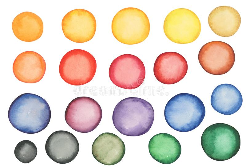 Set of Different Watercolor Multicolored Spots vector illustration
