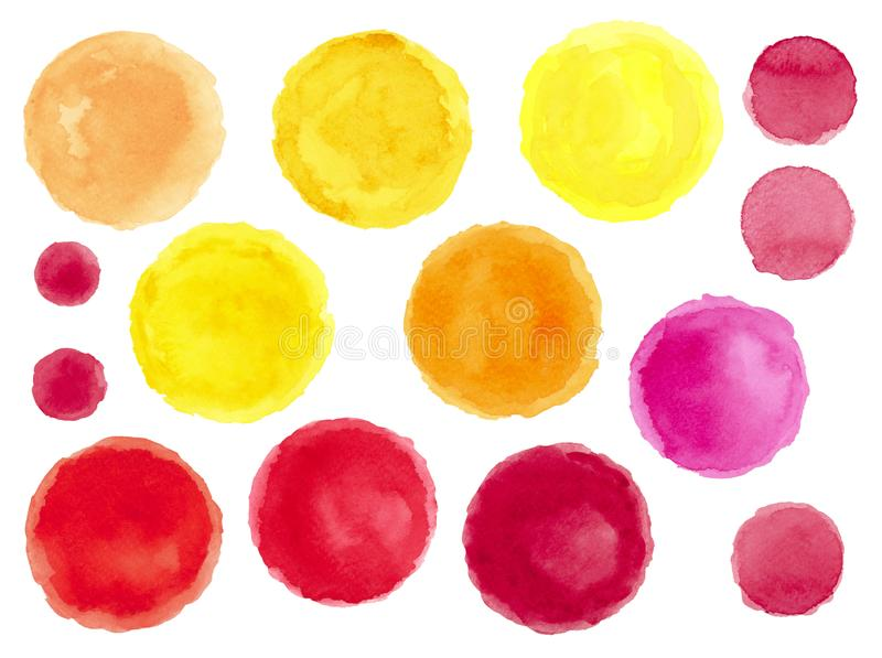 Set of Different Watercolor Multicolored Spots stock illustration