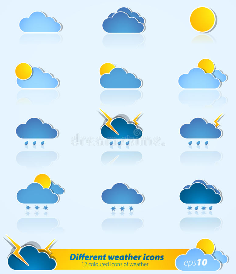 Download Set Of Different Weather Icons Stock Vector - Illustration of thunderstorm, rain: 19156612