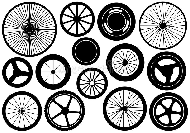 Set Of Different Wheels royalty free illustration